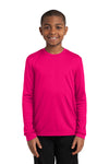 Sport-Tek YST350LS Youth Competitor Moisture Wicking Long Sleeve Crewneck T-Shirt Fuchsia Pink Front