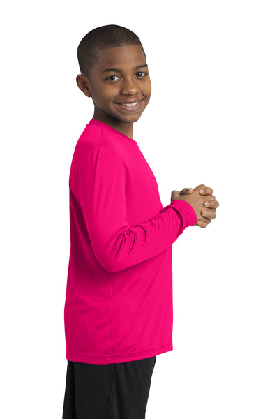 Sport-Tek YST350LS Youth Competitor Moisture Wicking Long Sleeve Crewneck T-Shirt Fuchsia Pink Side