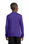 Sport-Tek YST350LS Youth Competitor Moisture Wicking Long Sleeve Crewneck T-Shirt Purple Back