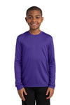 Sport-Tek YST350LS Youth Competitor Moisture Wicking Long Sleeve Crewneck T-Shirt Purple Front