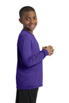 Sport-Tek YST350LS Youth Competitor Moisture Wicking Long Sleeve Crewneck T-Shirt Purple Side
