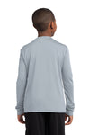 Sport-Tek YST350LS Youth Competitor Moisture Wicking Long Sleeve Crewneck T-Shirt Silver Grey Back