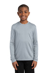 Sport-Tek YST350LS Youth Competitor Moisture Wicking Long Sleeve Crewneck T-Shirt Silver Grey Front