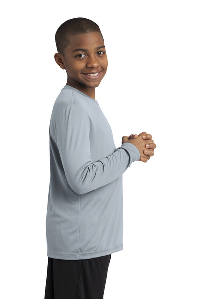 Sport-Tek YST350LS Youth Competitor Moisture Wicking Long Sleeve Crewneck T-Shirt Silver Grey Side