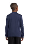Sport-Tek YST350LS Youth Competitor Moisture Wicking Long Sleeve Crewneck T-Shirt Navy Blue Back
