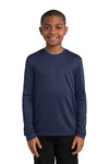 Sport-Tek YST350LS Youth Competitor Moisture Wicking Long Sleeve Crewneck T-Shirt Navy Blue Front
