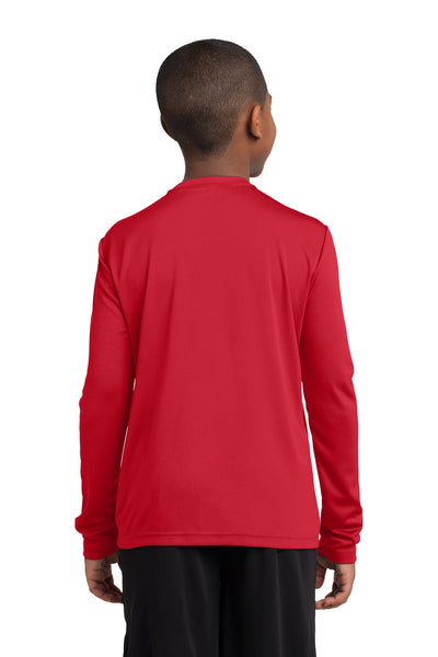 Sport-Tek YST350LS Youth Competitor Moisture Wicking Long Sleeve Crewneck T-Shirt Red Back