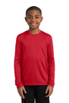 Sport-Tek YST350LS Youth Competitor Moisture Wicking Long Sleeve Crewneck T-Shirt Red Front