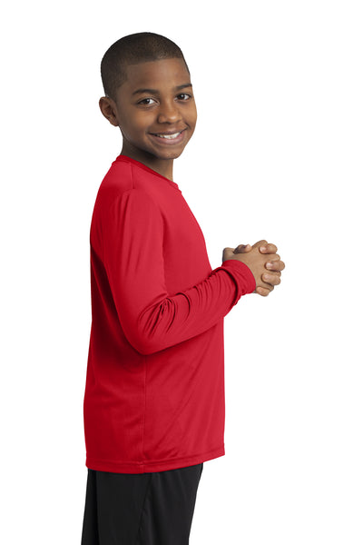 Sport-Tek YST350LS Youth Competitor Moisture Wicking Long Sleeve Crewneck T-Shirt Red Side
