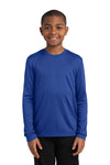Sport-Tek YST350LS Youth Competitor Moisture Wicking Long Sleeve Crewneck T-Shirt Royal Blue Front