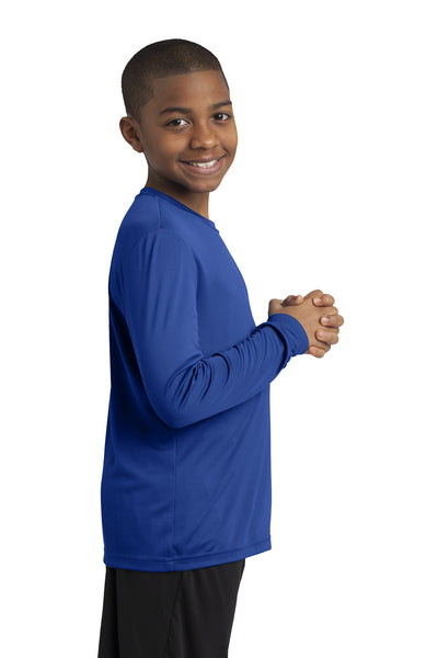 Sport-Tek YST350LS Youth Competitor Moisture Wicking Long Sleeve Crewneck T-Shirt Royal Blue Side