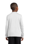 Sport-Tek YST350LS Youth Competitor Moisture Wicking Long Sleeve Crewneck T-Shirt White Back