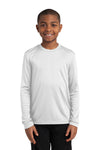 Sport-Tek YST350LS Youth Competitor Moisture Wicking Long Sleeve Crewneck T-Shirt White Front