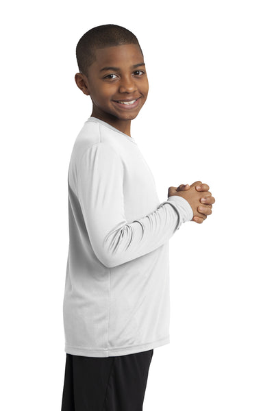 Sport-Tek YST350LS Youth Competitor Moisture Wicking Long Sleeve Crewneck T-Shirt White Side