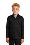 Sport-Tek YST357 Youth Competitor Moisture Wicking 1/4 Zip Sweatshirt Black Front