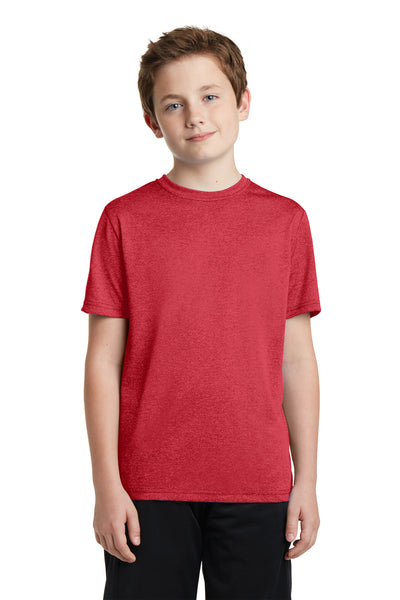 Sport-Tek YST360 Youth Contender Heather Moisture Wicking Short Sleeve Crewneck T-Shirt Red Front