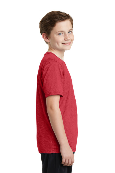 Sport-Tek YST360 Youth Contender Heather Moisture Wicking Short Sleeve Crewneck T-Shirt Red Side
