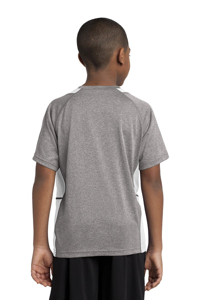 Sport-Tek YST361 Youth Contender Heather Moisture Wicking Short Sleeve Crewneck T-Shirt Vintage Grey/White Back