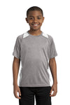 Sport-Tek YST361 Youth Contender Heather Moisture Wicking Short Sleeve Crewneck T-Shirt Vintage Grey/White Front