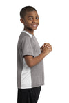 Sport-Tek YST361 Youth Contender Heather Moisture Wicking Short Sleeve Crewneck T-Shirt Vintage Grey/White Side