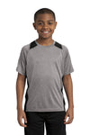 Sport-Tek YST361 Youth Contender Heather Moisture Wicking Short Sleeve Crewneck T-Shirt Vintage Grey/Black Front