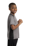 Sport-Tek YST361 Youth Contender Heather Moisture Wicking Short Sleeve Crewneck T-Shirt Vintage Grey/Black Side