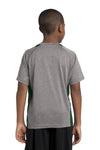 Sport-Tek YST361 Youth Contender Heather Moisture Wicking Short Sleeve Crewneck T-Shirt Vintage Grey/Forest Green Back