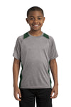Sport-Tek YST361 Youth Contender Heather Moisture Wicking Short Sleeve Crewneck T-Shirt Vintage Grey/Forest Green Front