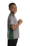 Sport-Tek YST361 Youth Contender Heather Moisture Wicking Short Sleeve Crewneck T-Shirt Vintage Grey/Forest Green Side