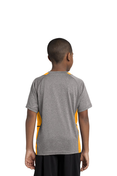 Sport-Tek YST361 Youth Contender Heather Moisture Wicking Short Sleeve Crewneck T-Shirt Vintage Grey/Gold Back