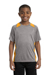 Sport-Tek YST361 Youth Contender Heather Moisture Wicking Short Sleeve Crewneck T-Shirt Vintage Grey/Gold Front