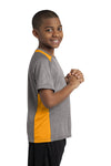 Sport-Tek YST361 Youth Contender Heather Moisture Wicking Short Sleeve Crewneck T-Shirt Vintage Grey/Gold Side