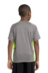 Sport-Tek YST361 Youth Contender Heather Moisture Wicking Short Sleeve Crewneck T-Shirt Vintage Grey/Lime Green Back