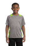 Sport-Tek YST361 Youth Contender Heather Moisture Wicking Short Sleeve Crewneck T-Shirt Vintage Grey/Lime Green Front