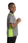 Sport-Tek YST361 Youth Contender Heather Moisture Wicking Short Sleeve Crewneck T-Shirt Vintage Grey/Lime Green Side