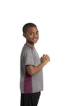 Sport-Tek YST361 Youth Contender Heather Moisture Wicking Short Sleeve Crewneck T-Shirt Vintage Grey/Maroon Side