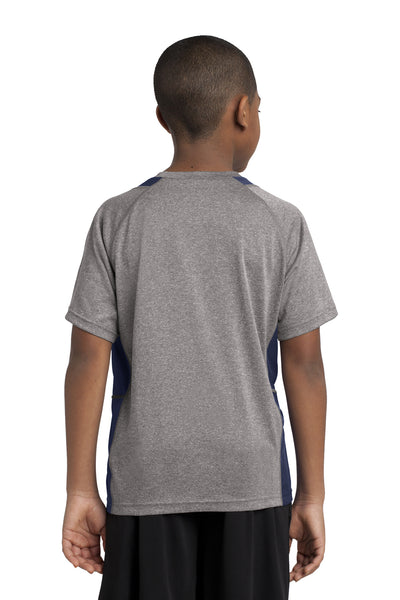 Sport-Tek YST361 Youth Contender Heather Moisture Wicking Short Sleeve Crewneck T-Shirt Vintage Grey/Navy Blue Back