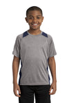 Sport-Tek YST361 Youth Contender Heather Moisture Wicking Short Sleeve Crewneck T-Shirt Vintage Grey/Navy Blue Front