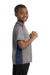 Sport-Tek YST361 Youth Contender Heather Moisture Wicking Short Sleeve Crewneck T-Shirt Vintage Grey/Navy Blue Side