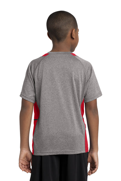 Sport-Tek YST361 Youth Contender Heather Moisture Wicking Short Sleeve Crewneck T-Shirt Vintage Grey/Red Back