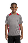 Sport-Tek YST361 Youth Contender Heather Moisture Wicking Short Sleeve Crewneck T-Shirt Vintage Grey/Red Front