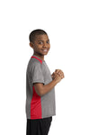 Sport-Tek YST361 Youth Contender Heather Moisture Wicking Short Sleeve Crewneck T-Shirt Vintage Grey/Red Side