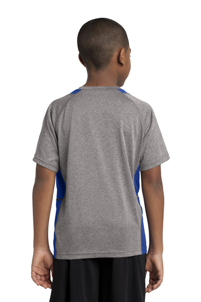 Sport-Tek YST361 Youth Contender Heather Moisture Wicking Short Sleeve Crewneck T-Shirt Vintage Grey/Royal Blue Back
