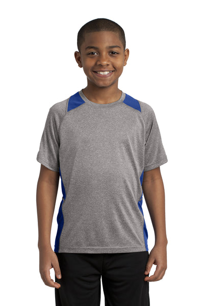 Sport-Tek YST361 Youth Contender Heather Moisture Wicking Short Sleeve Crewneck T-Shirt Vintage Grey/Royal Blue Front