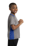 Sport-Tek YST361 Youth Contender Heather Moisture Wicking Short Sleeve Crewneck T-Shirt Vintage Grey/Royal Blue Side