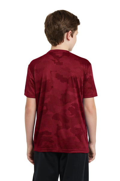 Sport-Tek YST370 Youth CamoHex Moisture Wicking Short Sleeve Crewneck T-Shirt Red Back