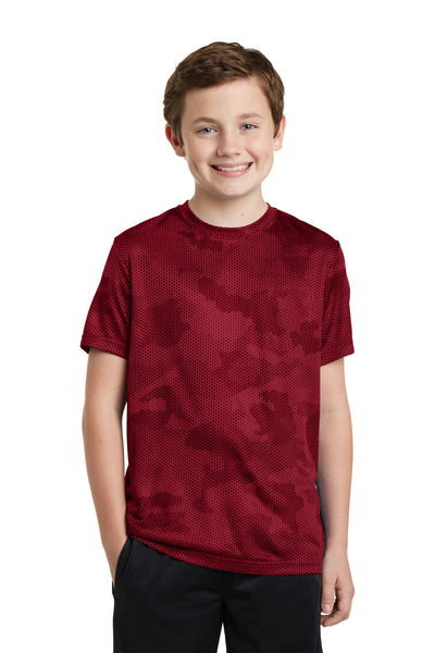 Sport-Tek YST370 Youth CamoHex Moisture Wicking Short Sleeve Crewneck T-Shirt Red Front