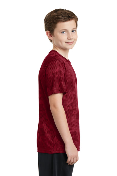 Sport-Tek YST370 Youth CamoHex Moisture Wicking Short Sleeve Crewneck T-Shirt Red Side