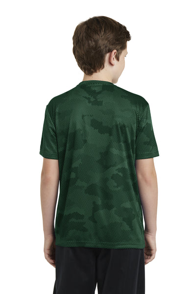 Sport-Tek YST370 Youth CamoHex Moisture Wicking Short Sleeve Crewneck T-Shirt Forest Green Back