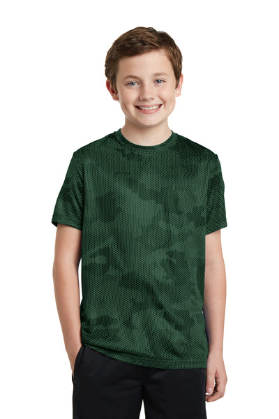 Sport-Tek YST370 Youth CamoHex Moisture Wicking Short Sleeve Crewneck T-Shirt Forest Green Front